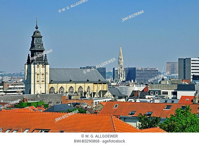 view from Poelaertplein to Notre Dame de la Chapel, Kapellekerk, gothic tower of the city hall in background, Belgium, Brussels