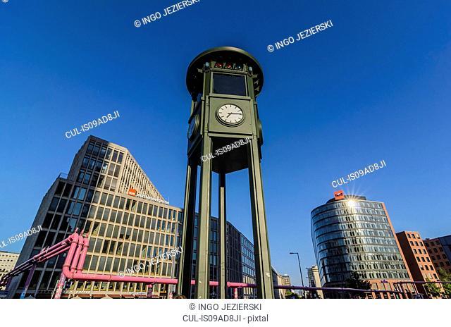 Clock tower at Potsdamer Platz, Berlin, Germany