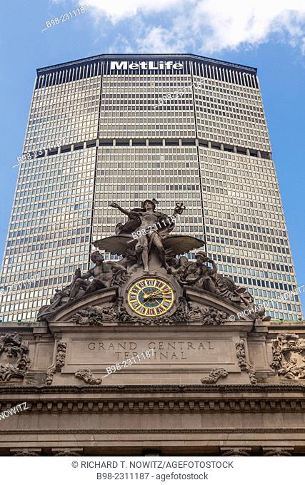 Looking up at the Met Life Building built over Grand Central Station in Mid town Manhattan