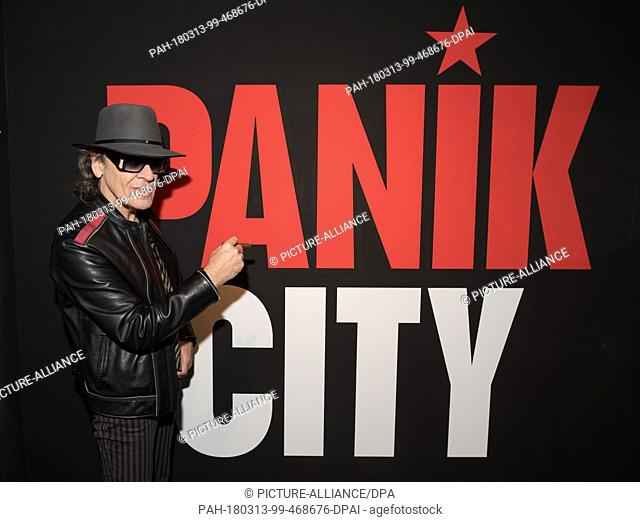 13 March 2018, Berlin, Germany: Rockstar Udo Lindenberg photographed in 'Panik City', the multimedia adventure 'The Udo Lindenberg Experience' in the St