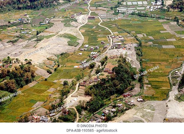 Aerial view of villages, kathmandu, nepal, asia