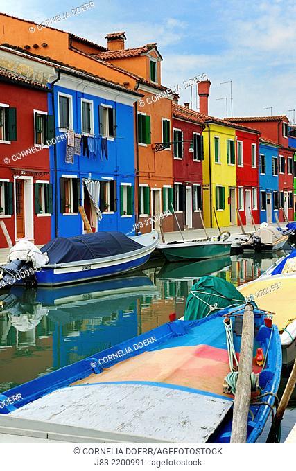 Colorful houses alongside canal, Burano, near Venice, Veneto, Italy, Europe