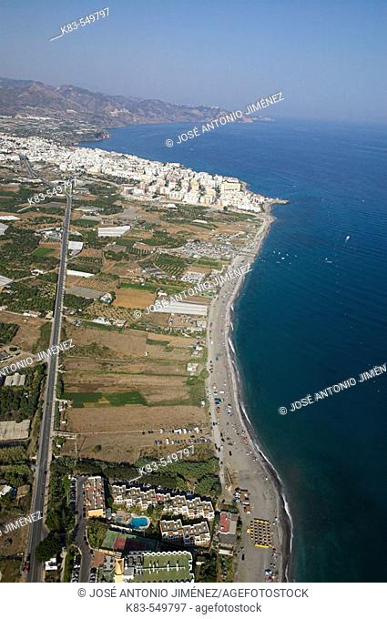 El Playazo beach, aerial view of Nerja. Costa del Sol, Málaga province. Andalusia, Spain