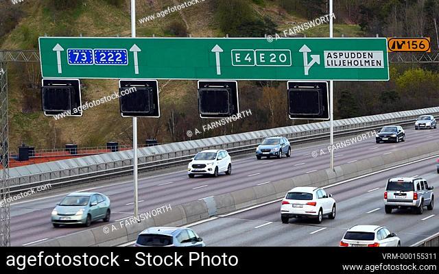 Stockholm, Sweden Traffic on the E4 highway