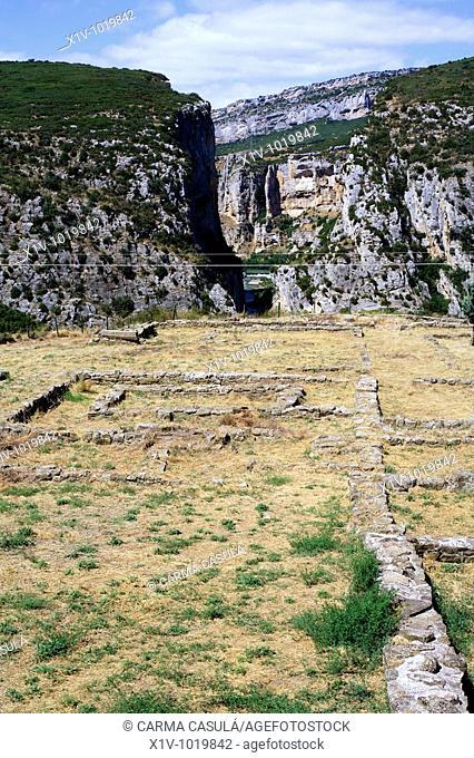 Roman archaeological site by Foz de Lumbier canyon, Navarre, Spain