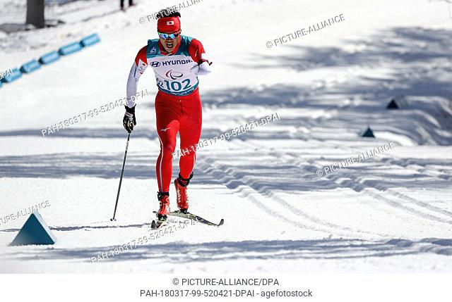 17 March 2018, South Korea, Pyeongchang: Paralympics, Alpensia Biathlon Centre: Men's 10km cross-country skiing, visually impaired