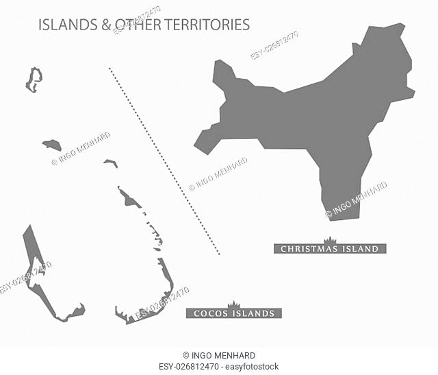 Islands and other territories Australia Map grey