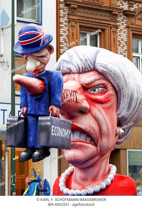 Lügennase by Theresa May daggers the British economy, Brexit, theme car by Jacques Tilly, Carnival Monday procession 2019, Düsseldorf, North Rhine-Westphalia