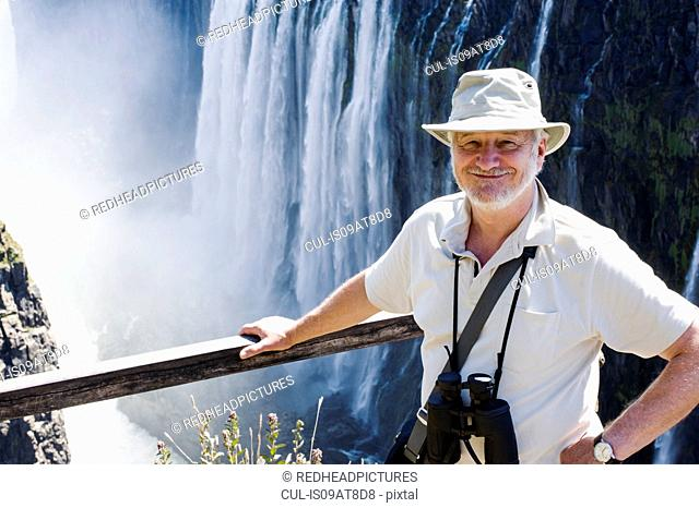 Portrait of senior man at Victoria Falls, Zambia