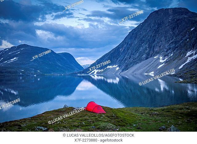Djupvatnet Lake. Landscape, in Rv63, road between Grotli and Geiranger, More og Romsdal, Norway