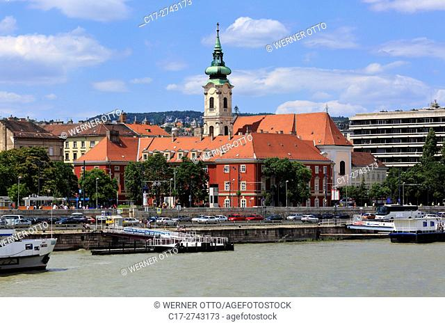 Hungary, Central Hungary, Budapest, Danube, Capital City, Franciscan church, monastery church, baroque, Danube riverwalk, ship landing stage