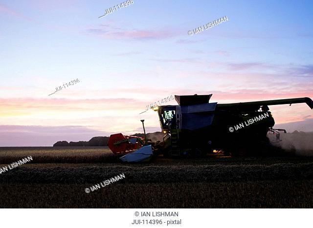 Combine Harvester Harvesting Wheat Crop At Dusk