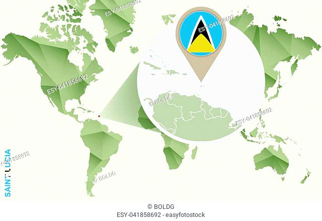 Infographic for Saint Lucia, detailed map of Saint Lucia with flag. Vector Info graphic green map