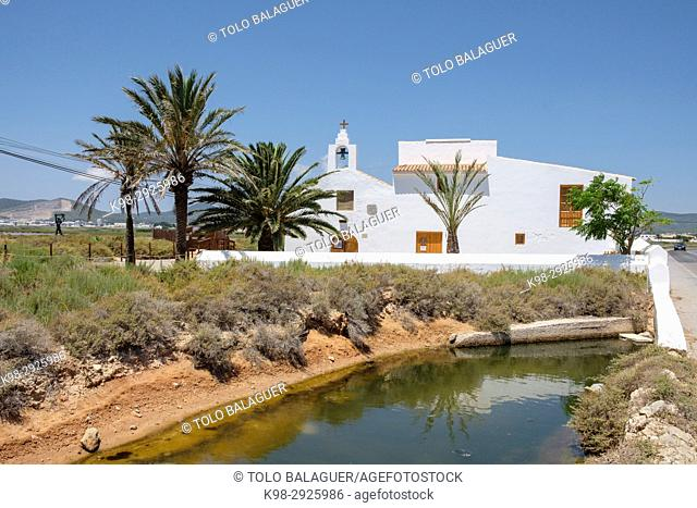 Sant Francesc de Paula church and centro de interpretacion del Parque Natural de las Salinas, siglo XVIII, Sant Jordi,Ibiza, Balearic Islands, Spain