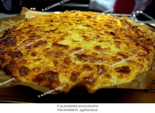 An freshly cooked onion cake is photographed in Oberkirch, Germany, 13 October 2016. The savoury cake is mostly eaten in southern Germany