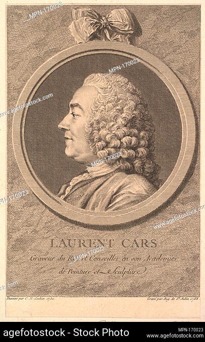 Portrait of Laurent Cars. Artist: Augustin de Saint-Aubin (French, Paris 1736-1807 Paris); Artist: After Charles Nicolas Cochin II (French