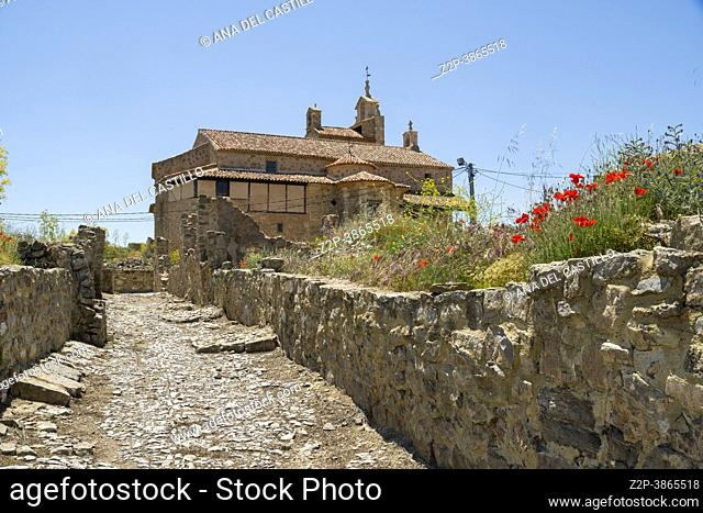 The historic town of Moya on hill during the flowering of the ferula communis flowers in June 2021 Cuenca Castile La Mancha Spain