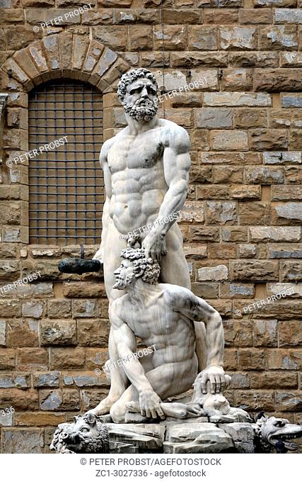 Florence, Tuscany, Italy - September 16, 2017: Hercules and Cacus statue from Giambologna in front of the Palazzo Vecchio on the Piazza della Signoria im...