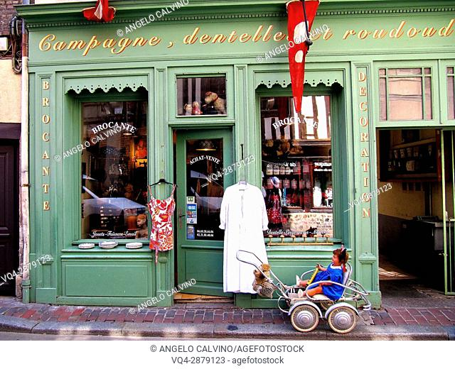 local store with regional products and souvenirs, old town of Honfleur, Calvados, Normandy, France.