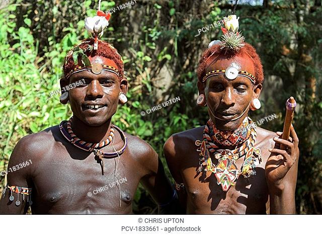 Kenya, Samburu men smiling at camera