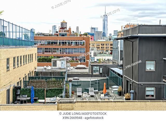 Looking South over Rooftops from the Meatpacking District of Manhattan, New York City. Freedom Tower, downtown, visible in the background
