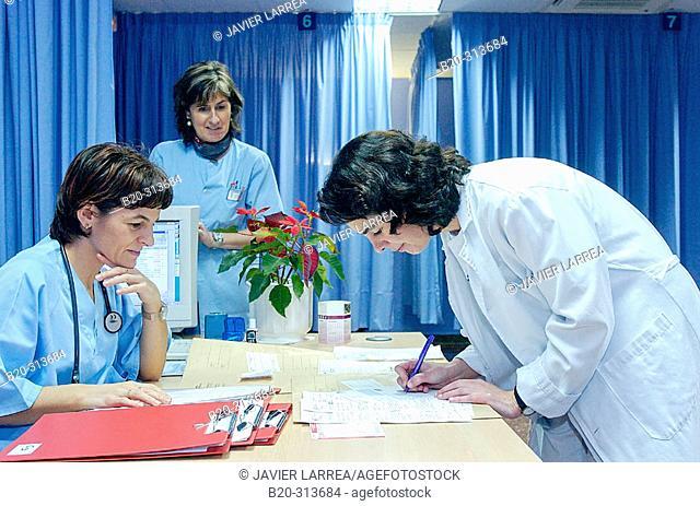 Admission desk at emergency area of hospital