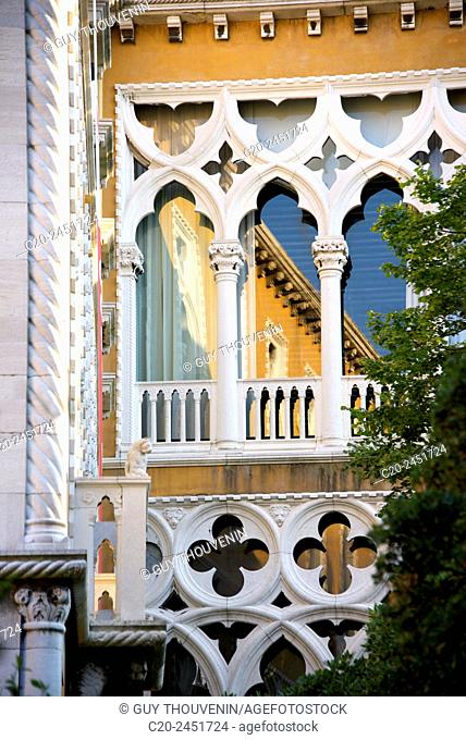 Typical gothic arches and windows, palace facade, Palazzo Franchetti, Venice, Venetia, Italy