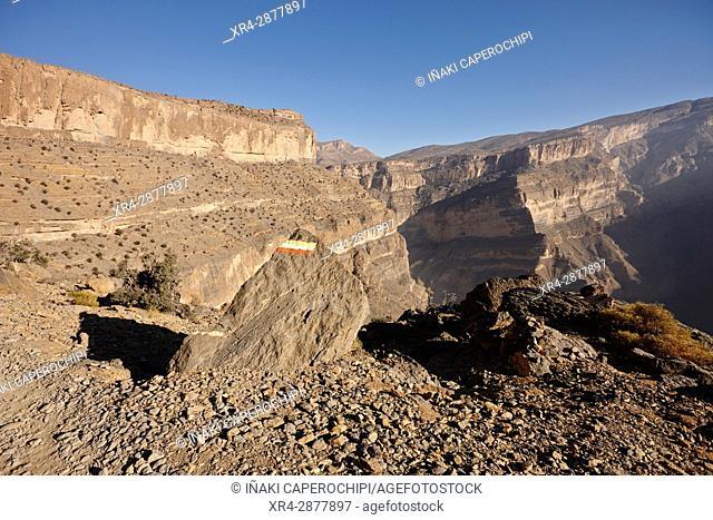 Trek por el Wadi Nakhr, Jebel Shams Plateau, Oman