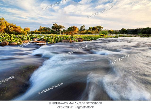 Landscape view of a rapids in the Zambezi river just above Vic Falls. Victoria Falls, Zimbabwe and Zambia