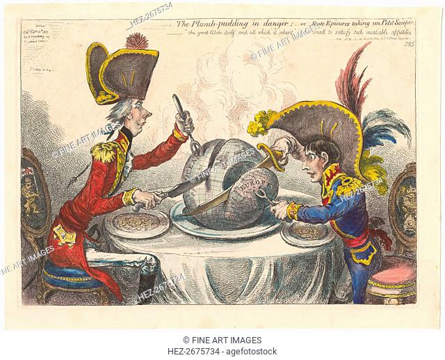 The Plumb-Pudding in Danger, or State Epicures Taking un Petit Souper, 1805
