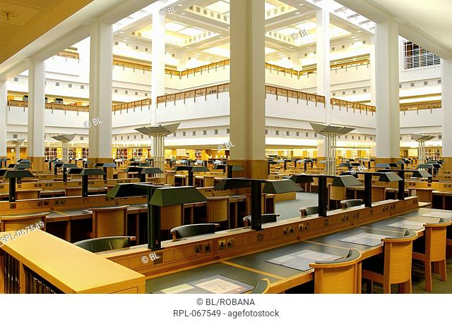 A reading room at the British Library. Image taken from Photographs of the British Library building at St.Pancras. Originally published/produced in 2005