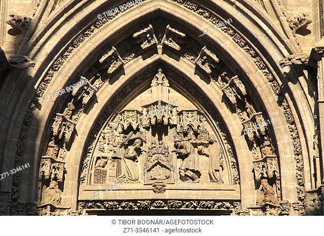 Spain; Andalusia; Seville; Cathedral, Puerta de la Natividad,