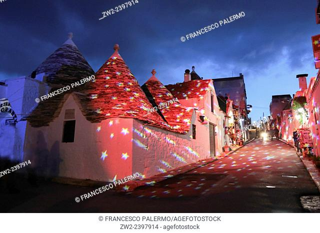 Christmas lights in Trullis area. Alberobello, Puglia. Italy