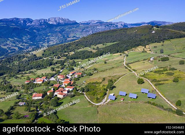 Aerial View, Aja, Soba Valley, Valles Pasiegos, Cantabria, Spain, Europe