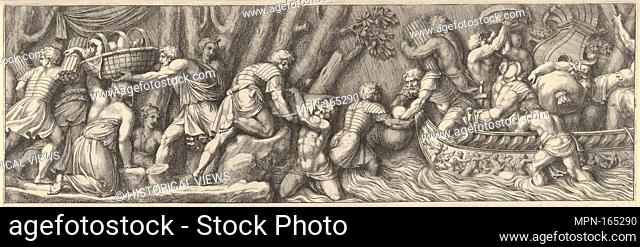 Plate 5: figures unloading goods from a boat at the right. Artist: Pietro Santi Bartoli (Italian, Perugia 1615-1700 Rome); Artist: After Polidoro da Caravaggio...