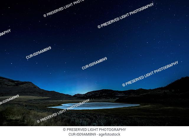 White Lake Grasslands Protected Area at night, Cawston, British Columbia, Canada