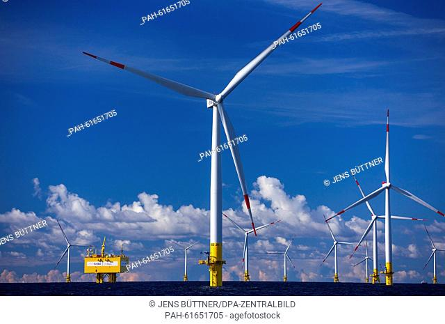 Wind turbines of the offshore wind park 'Baltic 2', are seen in the Baltic Sea close to the Island of Ruegen, Germany,9 September 2015