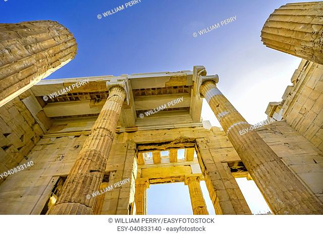 Propylaea Ancient Entrance Gateway Ruins Acropolis Athens Greece Construction ended in 432 BC