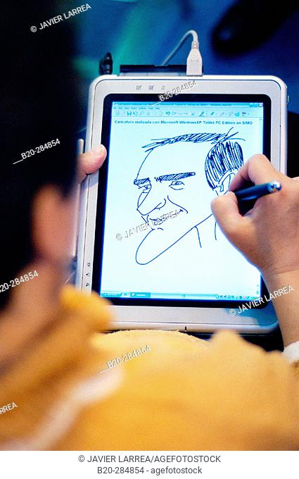 Drawing a caricature on Tablet PC, SIMO TCI, International Computing, Multimedia and Communications Expo. IFEMA. Madrid. Spain