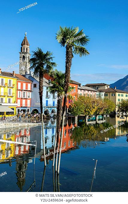 Ascona flooding in a sunny day in Ticino, Switzerland