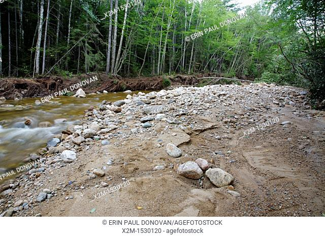 Cedar Brook crossing along the Pemi East Side Trail in the Pemigewasset Wilderness of Lincoln, New Hampshire USA after flash floods from Tropical Storm Irene in...