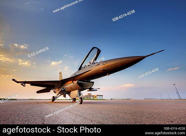 F-16 with Crew Chief in Cockpit, High Dynamic Range, or HDR Image