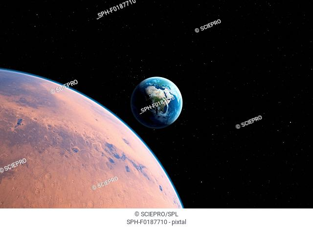 Planet with Earth in distance, illustration