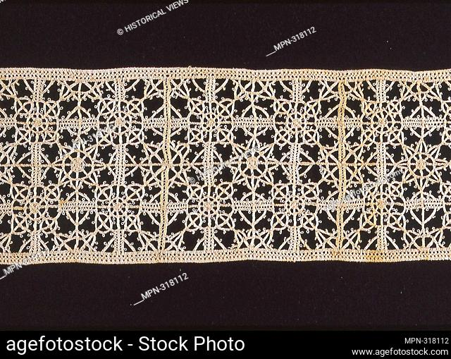 Aemilia Ars Workshop. Insertion - 1900 - Possibly made at the Aemilia Ars Workshop, 1898 - 1914 Italy, Bologna. Cotton, plain weave; cut work with needle lace...