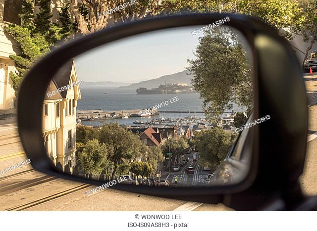 Wing mirror view of San Francisco, USA