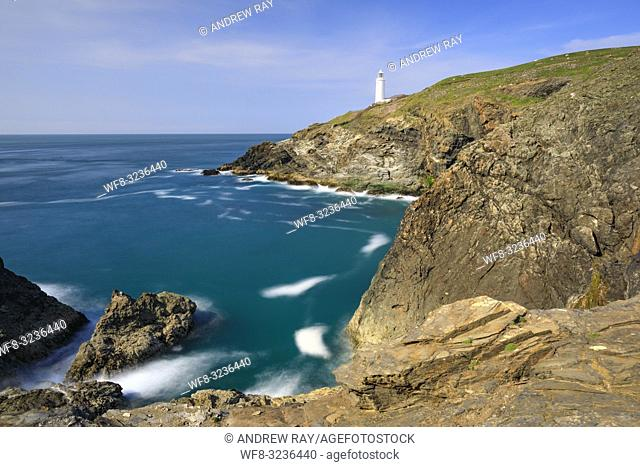 The lighthouse on Trevose Head on the North Coast of Cornwall captured on an evening in mid May. A long shutter speed was utilized to blur the movement in the...