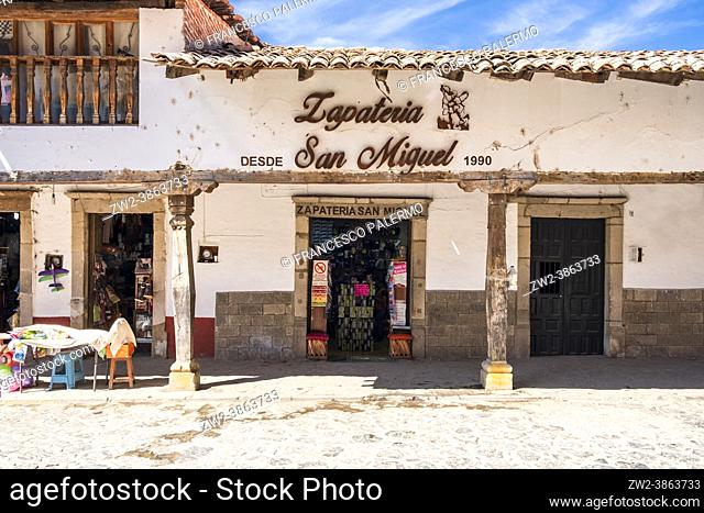 Spectacular wooden porch of the ancient village. Tapalpa, Mexico
