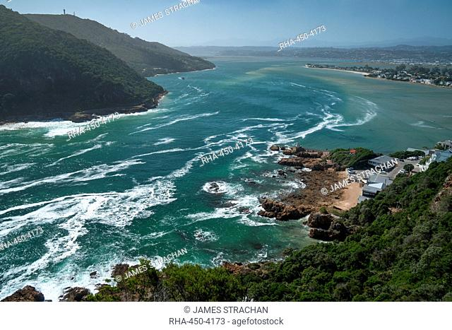 View inland across the lagoon from The Heads, Knysna, Western Cape, South Africa, Africa