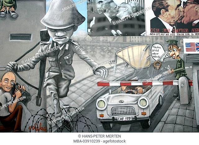 Germany, Berlin, Eastside Gallery, Berlin wall, paints