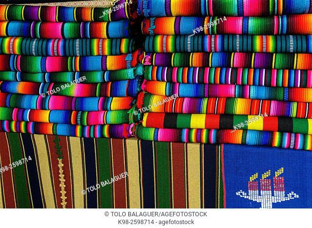 Typical fabrics, Chichicastenango , Municipio del departamento de El Quiché, Guatemala, Central America